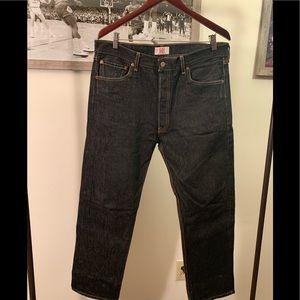 Levi's 501 Button Fly Raw Denim Jeans 36x32